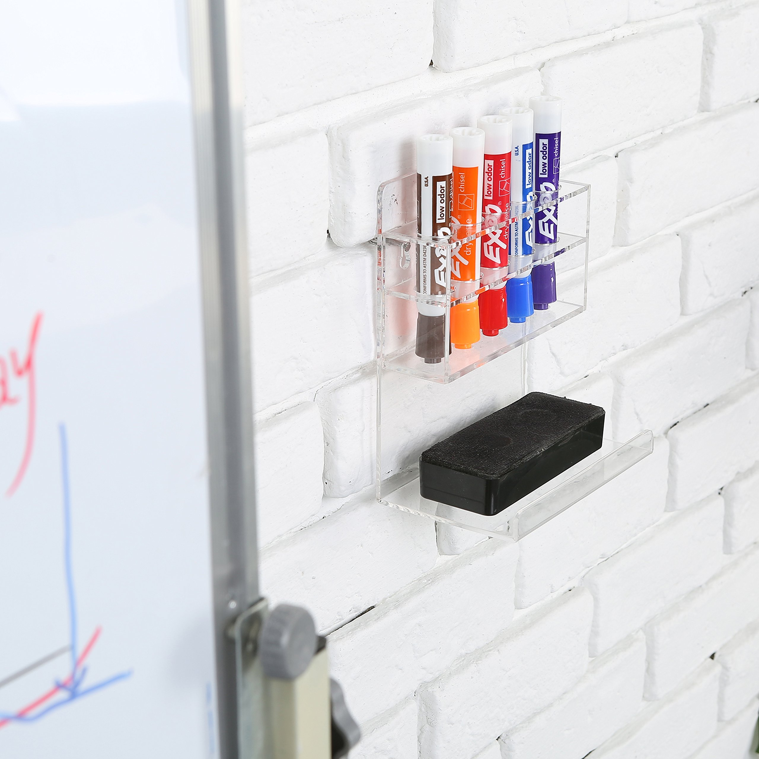 MyGift Clear Acrylic Wall Mounted 5 Slot Dry Erase Marker and Eraser Organizer Holder Rack, Set of 2 by MyGift (Image #2)