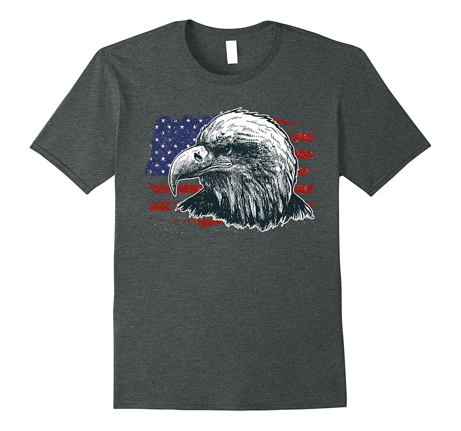 American Flag Eagle T Shirt Home Of The Brave Freedom Tee-ANZ ...