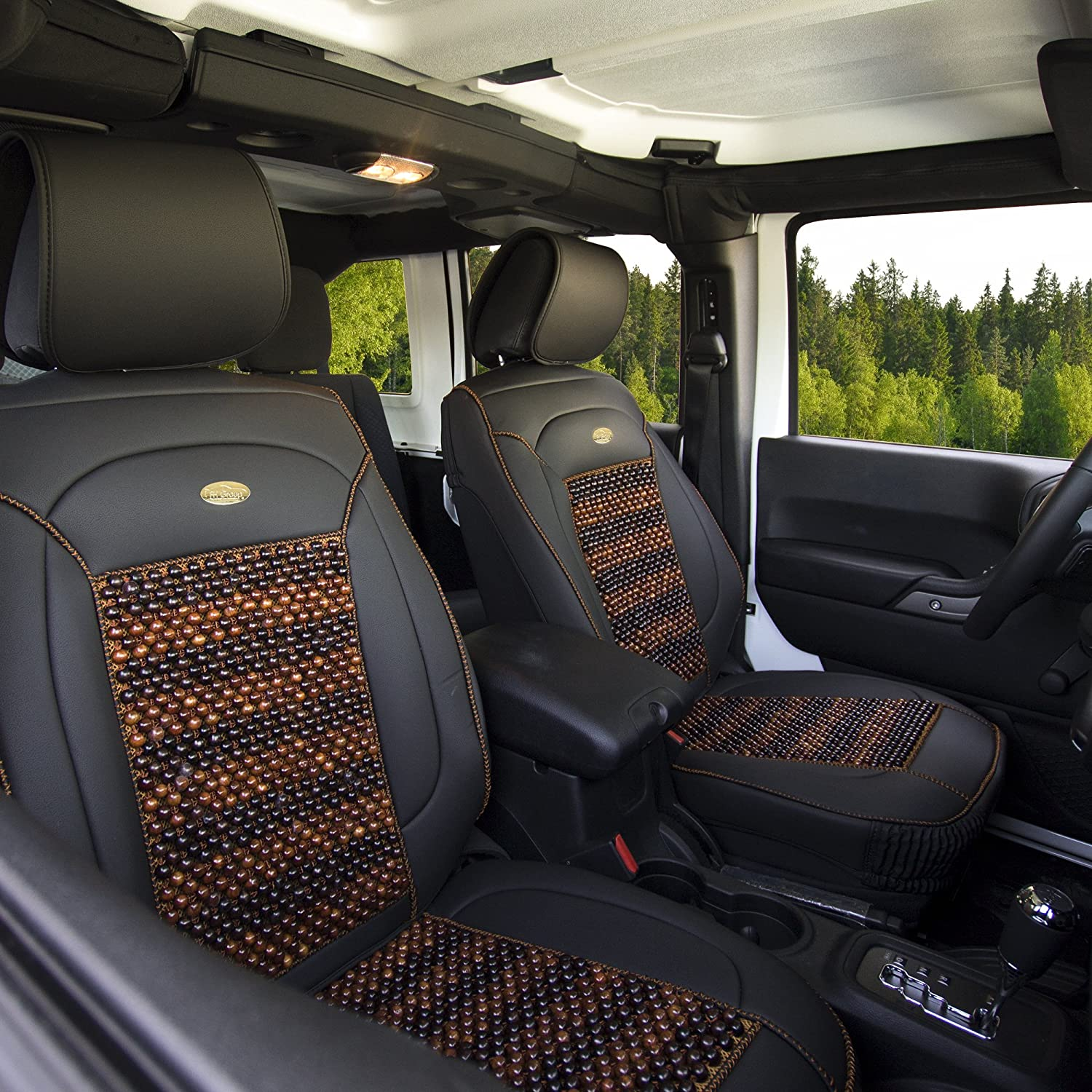 FH Group PU203102 Premium Leather Seat Leather Cushion Pad Seat Covers w. Cooling Rosewood Beads, Black -Fit Most Car, Truck, SUV, or Van