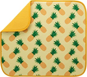 S&T INC. Absorbent, Reversible Microfiber Dish Drying Mat for Kitchen, 16 Inch x 18 Inch, Pineapples