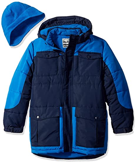 Rothschild Big Boys' Heavyweight Coat with Hat, Navy, Large/14-16