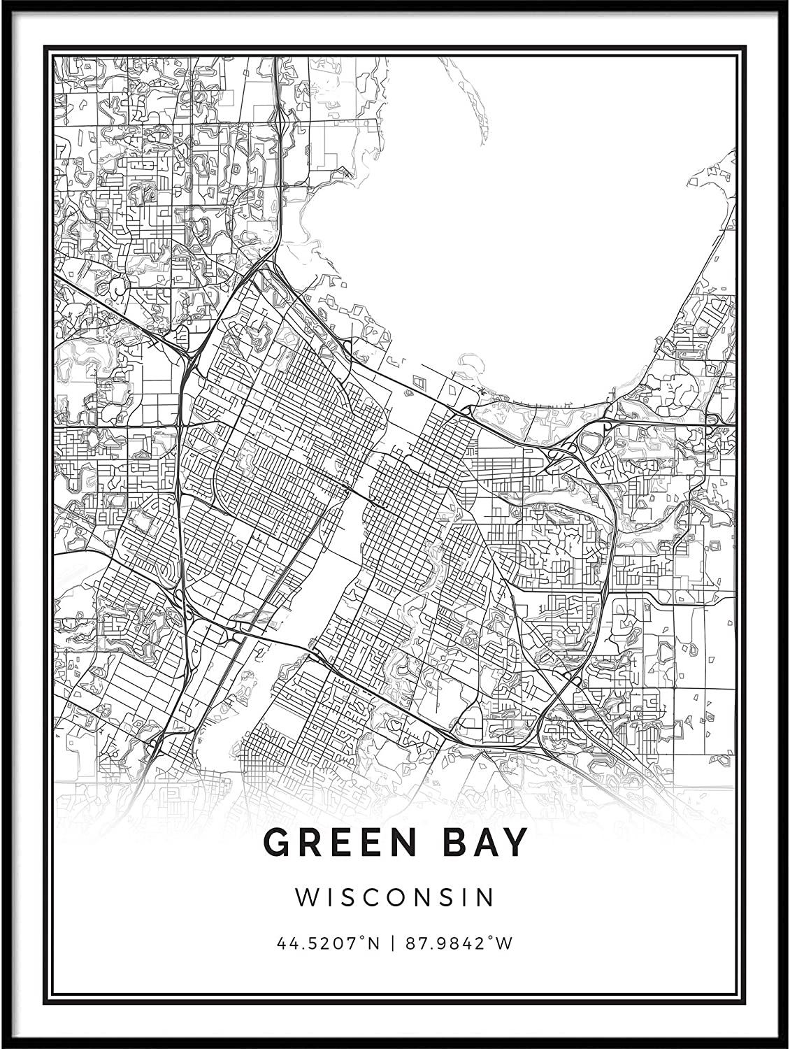 Amazon Com Squareious Green Bay Map Poster Print Modern Black And White Wall Art Scandinavian Home Decor Wisconsin City Prints Artwork Fine Art Posters 24x36 Posters Prints Download a free preview or high quality adobe illustrator ai, eps, pdf and high resolution jpeg versions. squareious green bay map poster print