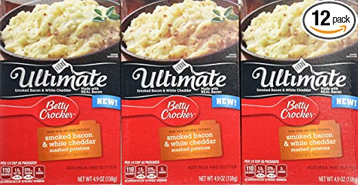 Betty Crocker Dry Meals Ultimate's Smoked Bacon and White Cheddar Mashed Potatoes, 4.90 Ounce (Pack of 12)