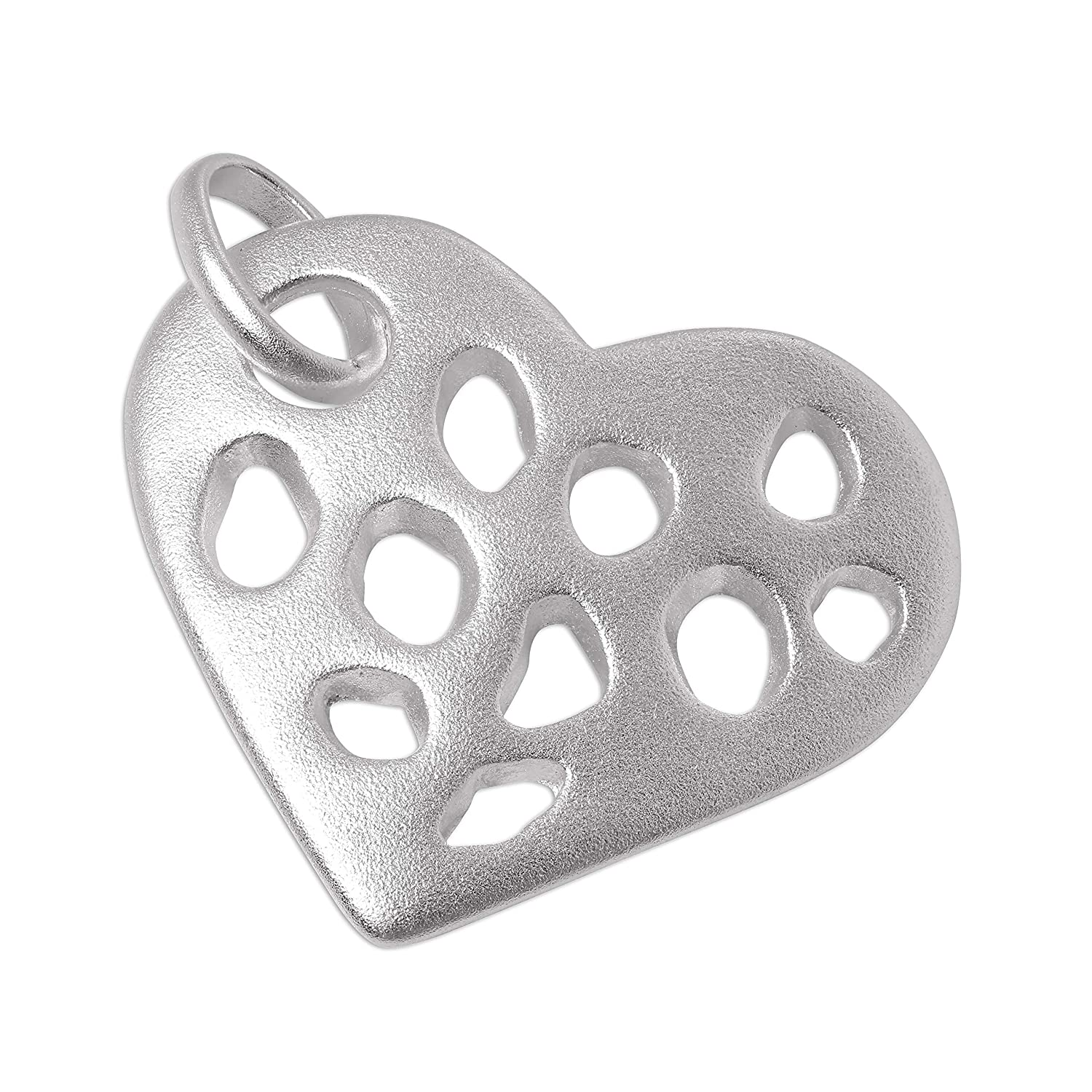 Large Sterling Silver Cut Out Heart Charm