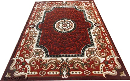 Zia Carpets Beatiful Floral Design Velvet Touch Carpet for Living Room and Home with 1 inch Thickness - Rust (6 x 8 Feet)