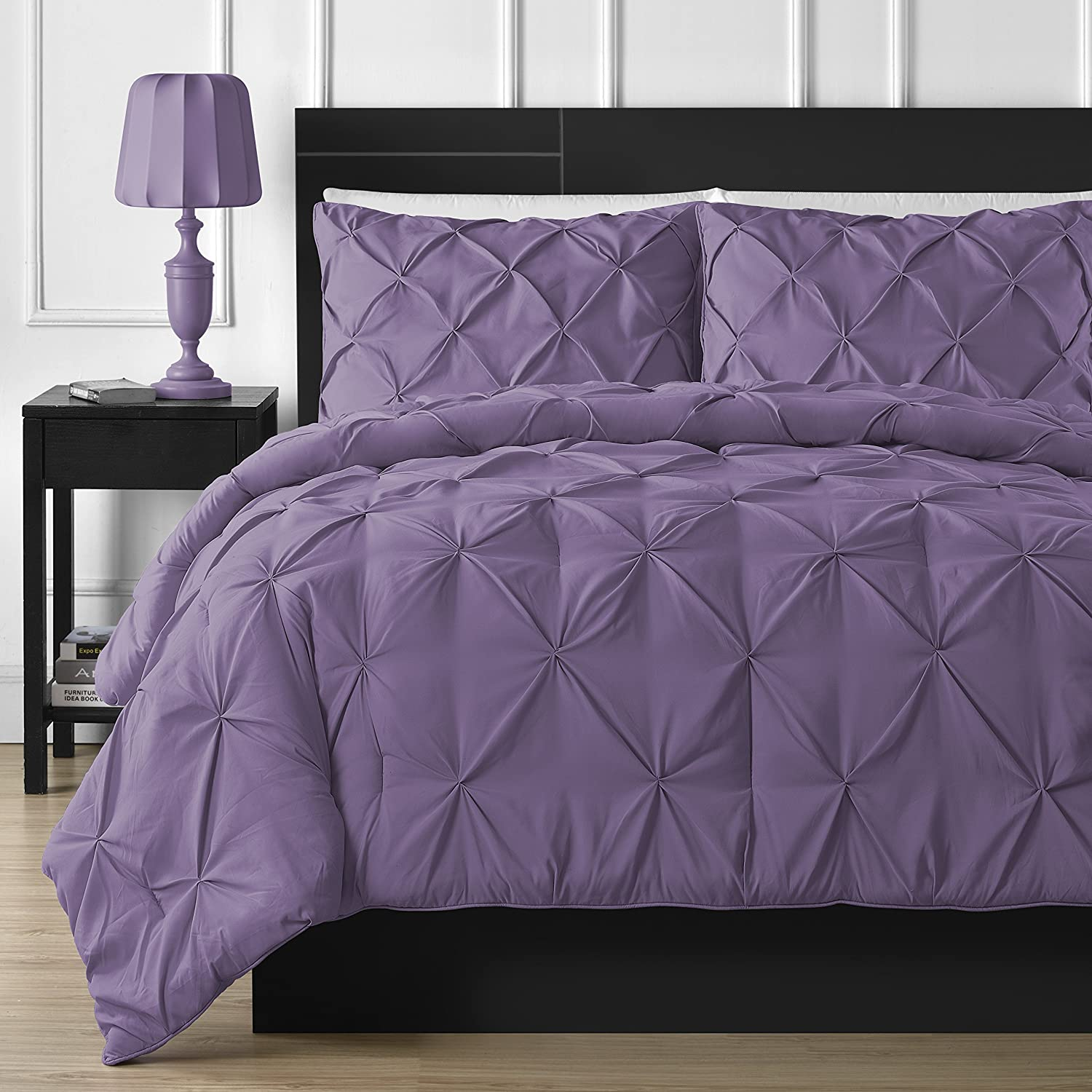 Double-Needle Durable Stitching Comfy Bedding 3-piece Pinch Pleat Comforter Set King, Purple