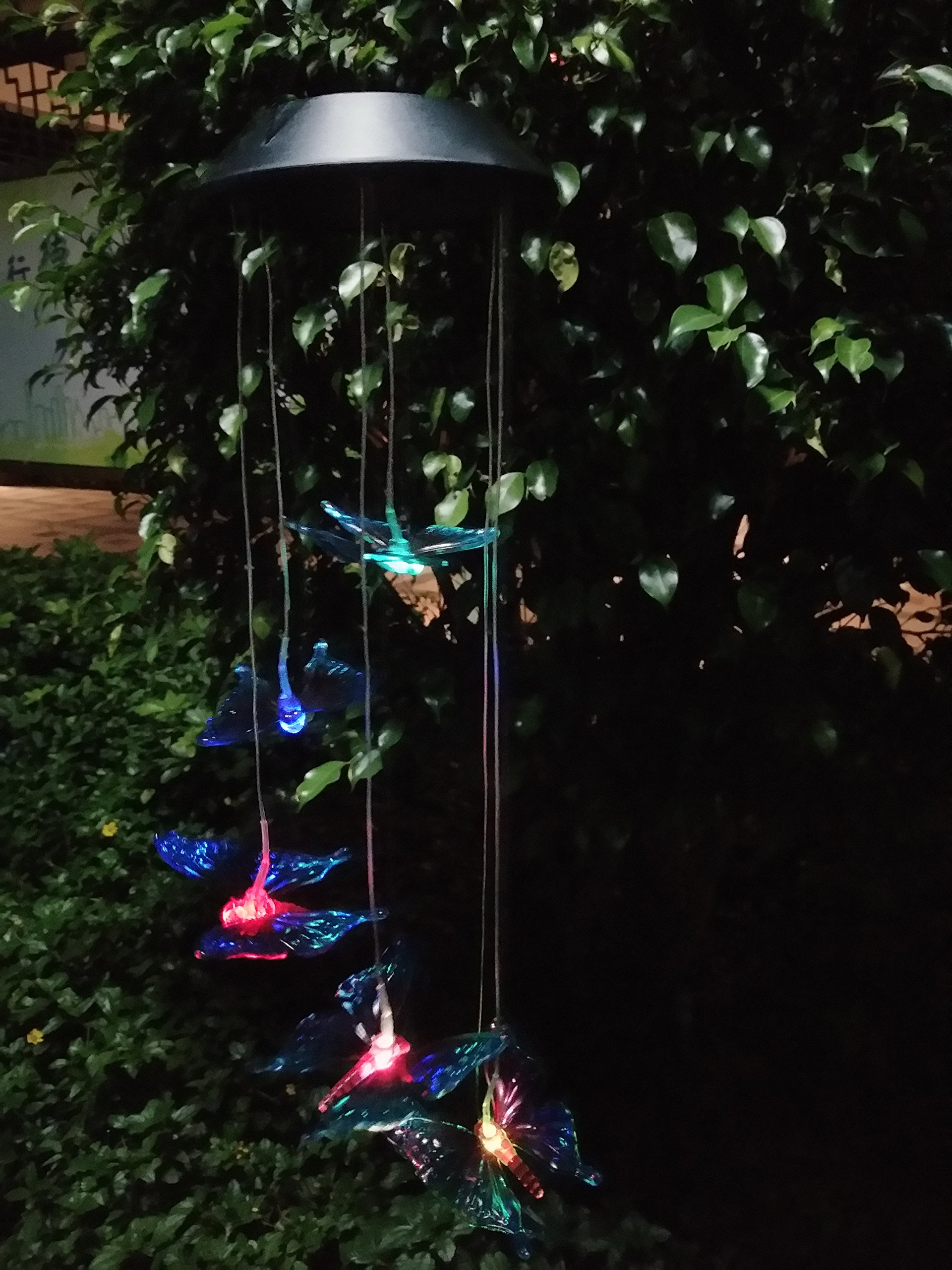 WiVison Solar Wind Chimes Light Control Suniness Hanging Lamp Wind Chime Waterproof Color-Changing Led Windbell Lamps Romantic for Outdoor Indoor Gardening Lighting Decoration Blue Color Butterfly