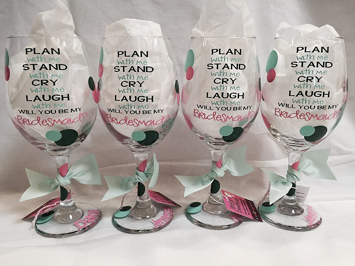 84a82e5eb13 Amazon.com: Bridal Party Wine Glasses, Bridal party gift, Will you be my  Maid of Honor, Bridesmaid gift, Plan with me, Stand with me (one glass):  Handmade