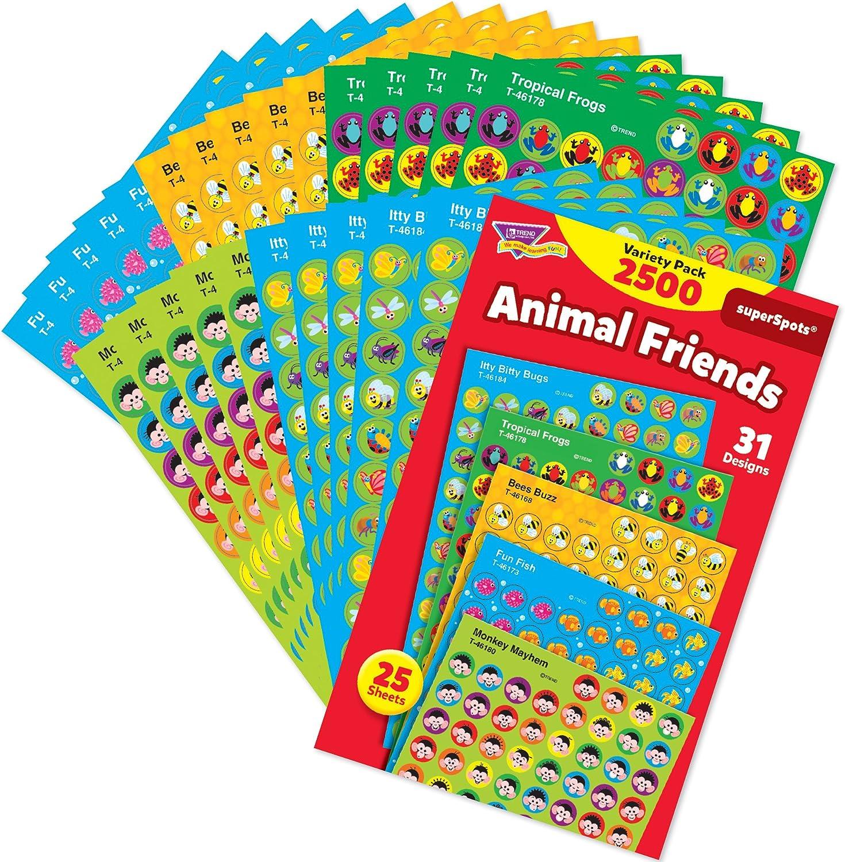 32 Designs 2500 Best Buddies Animals Teacher Reward Stickers Variety Pack