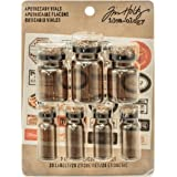Tim Holtz Idea-ology Glass Apothecary Vials with Corks 7/Vial Pack, Includes 20 Vintage Labels and 7 Corks, Tinted Glass…