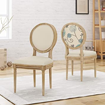 official photos 2ae47 ffb52 Christopher Knight Home 306407 Reed Upholstered Farmhouse Dining Chairs,  Blue, White, and Beige (Set of 2)