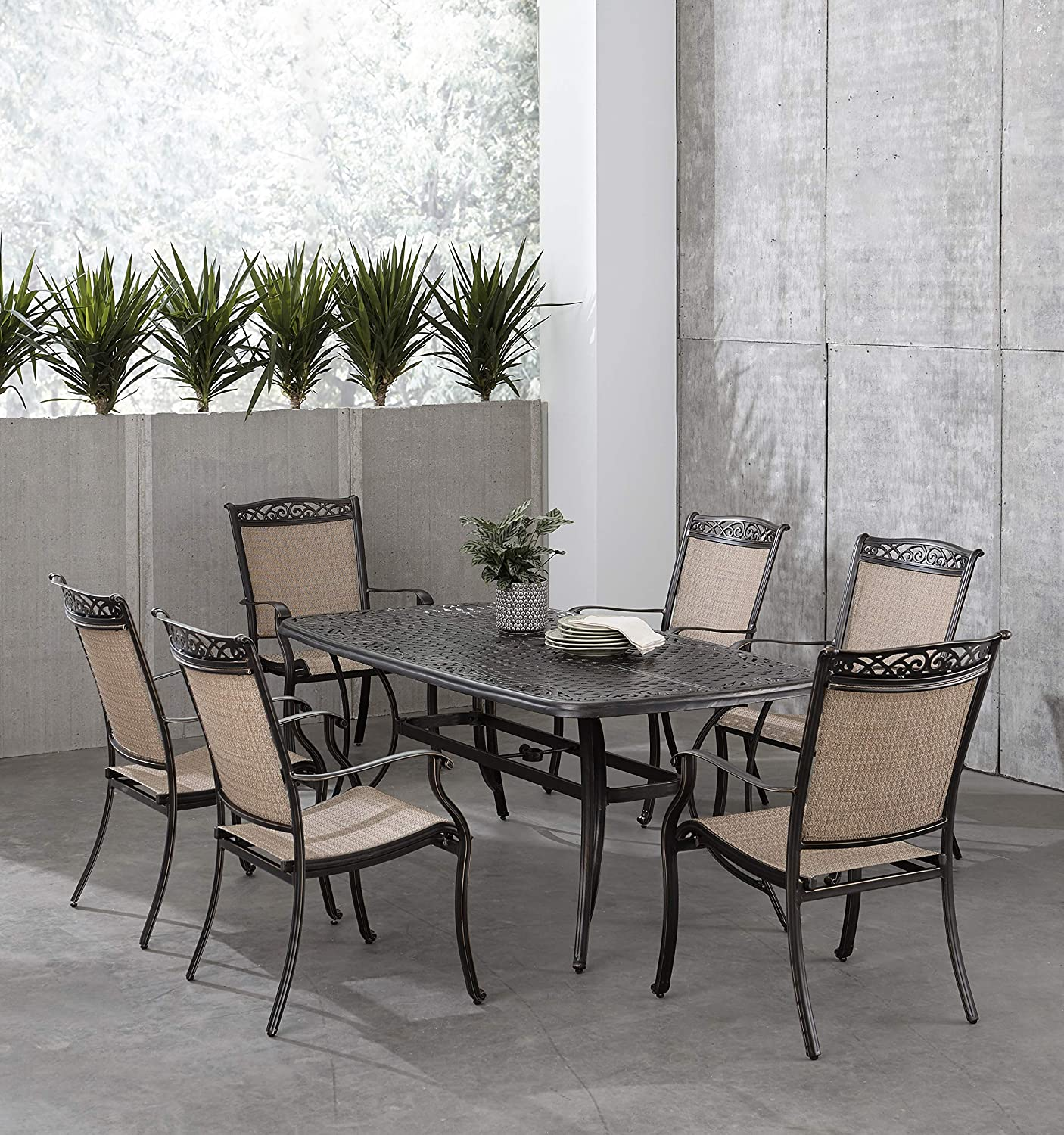 Hanover Fontana 7-Piece Dining Set with 6 Sling Chairs and a 38-in. x 72-in. Cast-Top Table, FNTDN7PCC Outdoor Furniture, Tan
