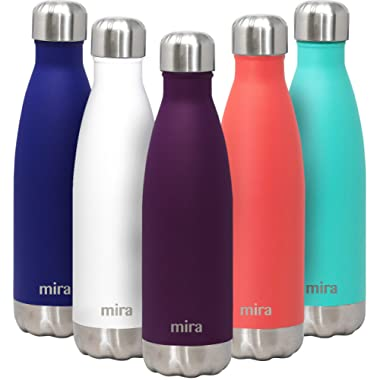 MIRA 17 Oz Stainless Steel Vacuum Insulated Water Bottle   Double Walled Cola Shape Thermos   24 Hours Cold, 12 Hours Hot   Reusable Metal Water Bottle   Leak-Proof Sports Flask   Iris