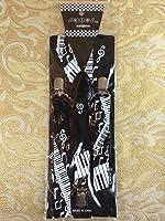 Piano & Musical Notes Elastic Adjustable Y-shape Clips-on Suspenders Women Men
