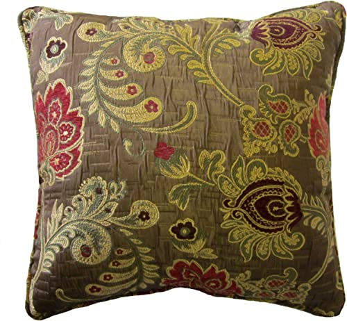 ReynosoHomeDecor 16×16 Burgundy and Pink Floral Brocade Decorative Throw Pillow Cover MAGA Collection