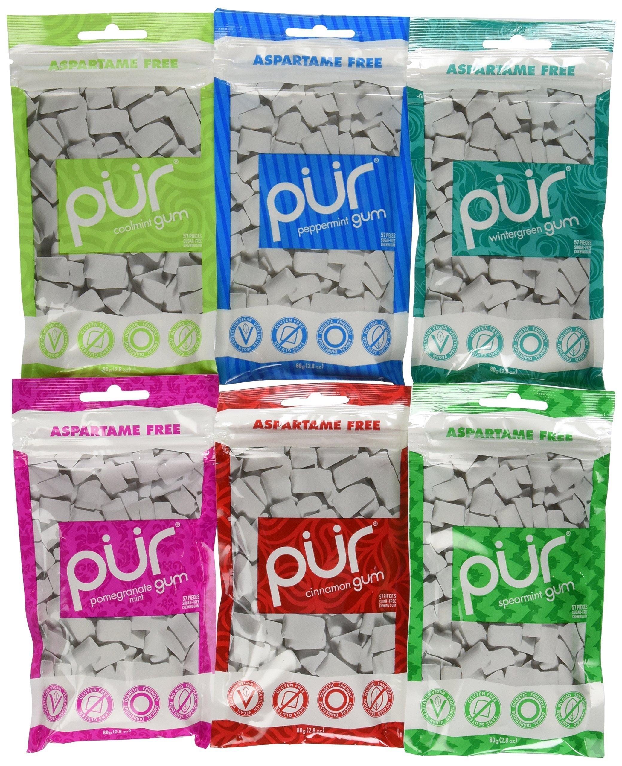 PUR Gum 6 Flavor Assortment Spearmint, Peppermint, Pomegranate Mint, Wintergreen, Cinnamon, Coolmint by PUR Gum
