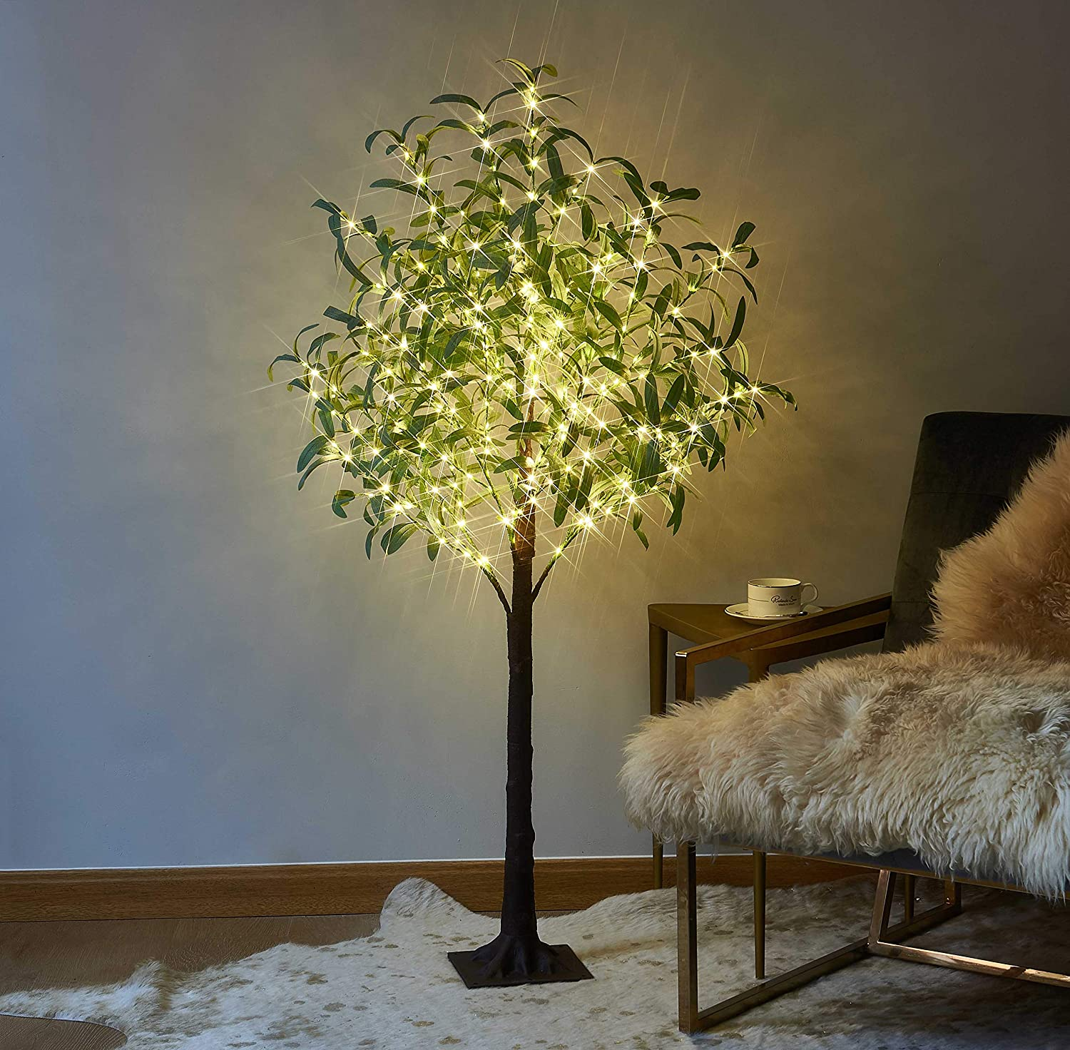 Hairui Lighted - Olive - Tree - Plug-in 4FT 160 Warm White LEDs Artificial Greenery with Lights for Wedding Holiday Home Party Decoration