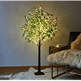 LITBLOOM Lighted Olive Tree 4FT 160 LED Artificial Greenery Tree with Lights for Wedding Party Holiday Christmas Decoration