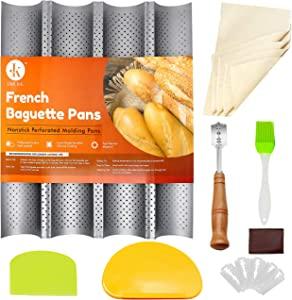 J&K Baguette Pans for Baking French Bread Nonstick Perforated 15
