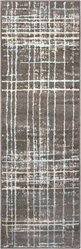 Superior Painted Stripes Collection Area Rug, 6mm Pile Height with Jute Backing, Affordable Contemporary Rugs, Chic Geometric Windowpane Pattern – 2 7 x 8 Runner, Grey