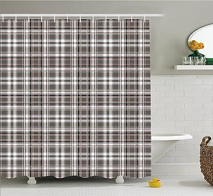 Lunarable Plaid Shower Curtain Classic English Tartan Cells Stripes Scottish Geometric Traditional Fabric