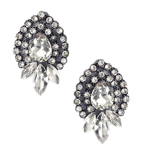 1eea97467 Amazon.com: Art Deco Antique Vintage Style Pear Shape Rhinestone Wedding  Bridal Prom Cluster Earrings: Jewelry