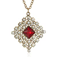 1928 Jewelry Gold-Tone Red and Crystal Accent Filigree Pendant Necklace, 16""