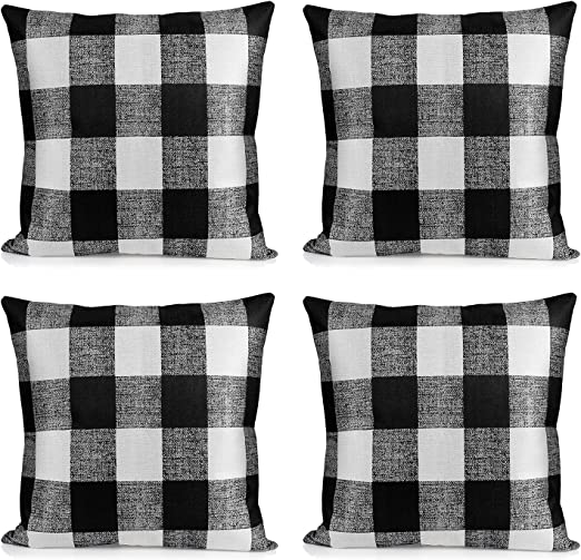 4 Pack Pillow Cover Buffalo Plaid Black White Check Cushion Classic Tartan Linen