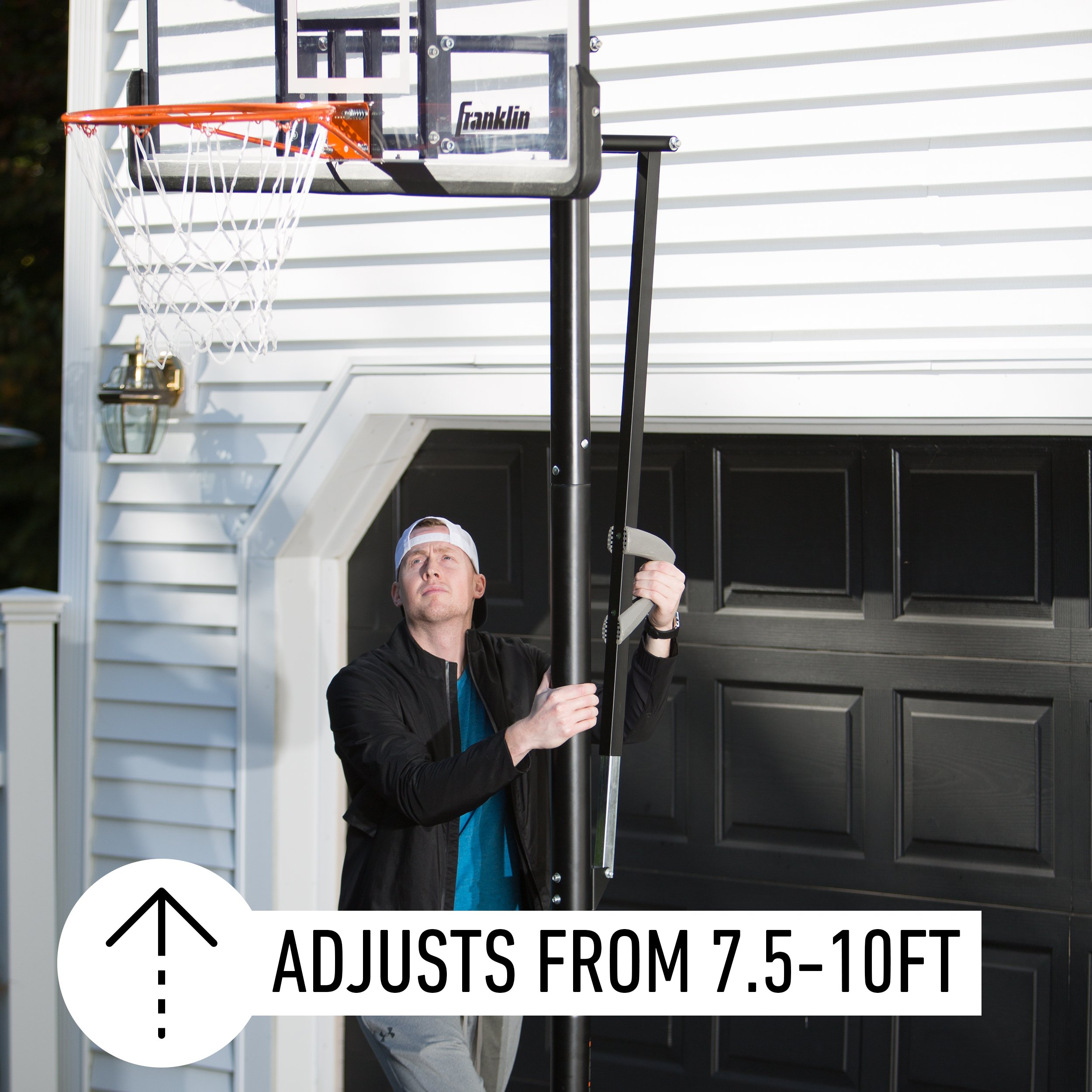 Franklin Sports Portable Basketball Hoop – Authentic Street Basketball Hoop for Adults and Kids – Adjustable Basketball Hoop with Rolling Mechanism – Play Basketball in Your Driveway by Franklin Sports (Image #3)