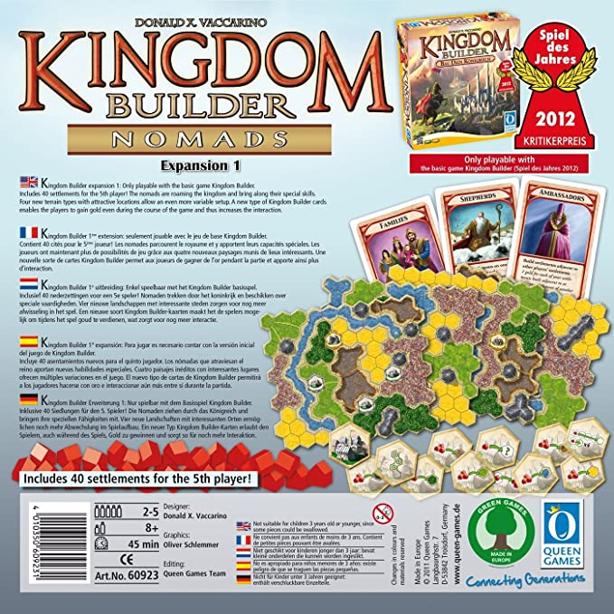 Queen Games Kingdom Builder Nomads Expansion 1 Board Game