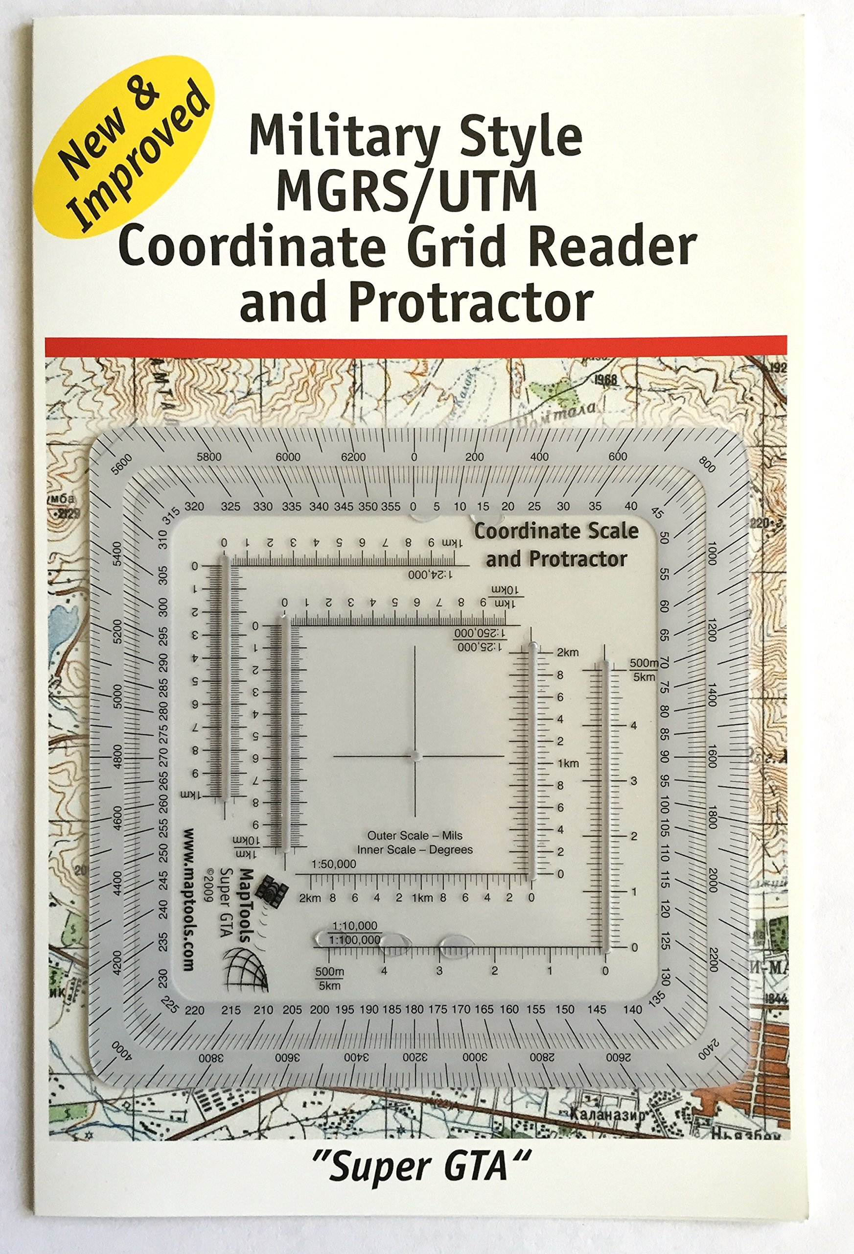 MapTools Improved Military Style MGRS/UTM Coordinate Grid Reader, and Protractor by MapTools (Image #1)