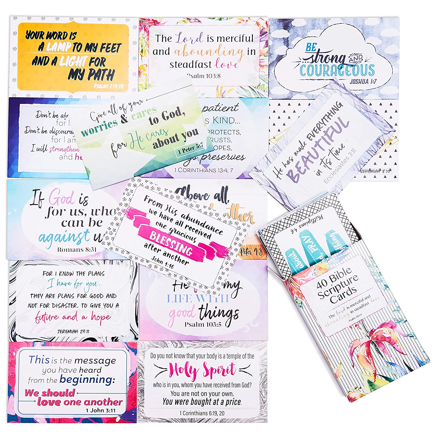 Best Paper Greetings Bible Verse Scripture Cards - 40-Design Inspirational  Christian Prayer Message Cards, 3 3 x 2 1 Inches