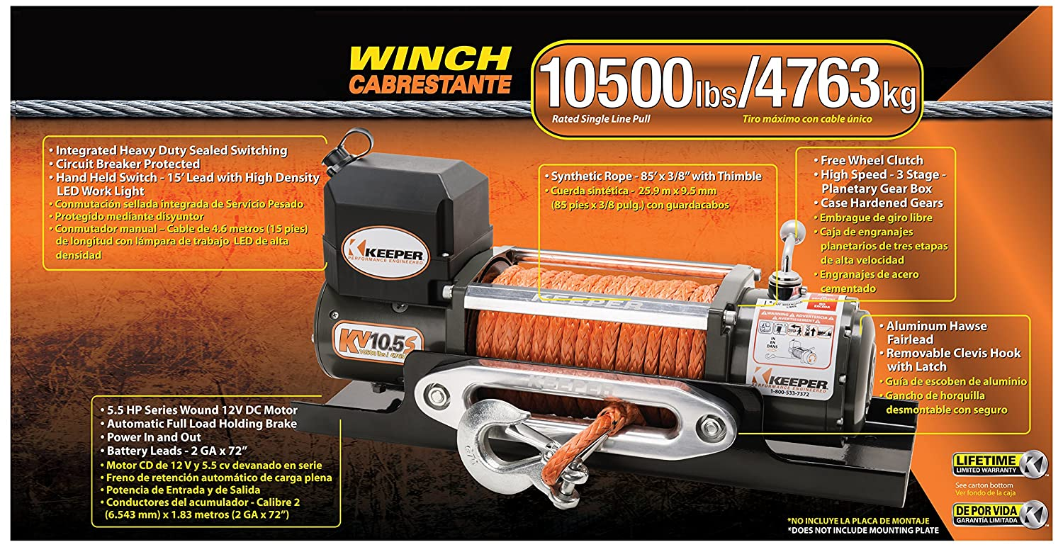 Amazon.com: Keeper KV10.5S 12V DC Utility, Trailer and Recovery Winch - 10500 lbs. Capacity: Automotive