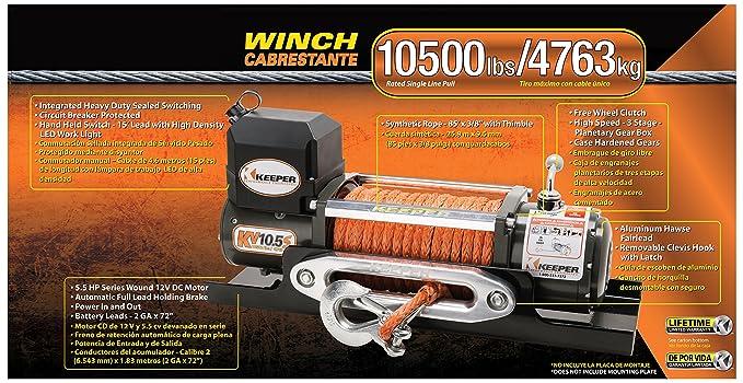 Amazon.com: Keeper KV10.5S 12V DC Utility, Trailer and Recovery Winch - 10500 lbs. Capacity: Automotive