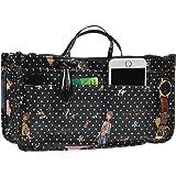 Vercord Printed Purse Handbag Tote Insert Organizer 13 Pockets With Zipper and Handles 2 Size