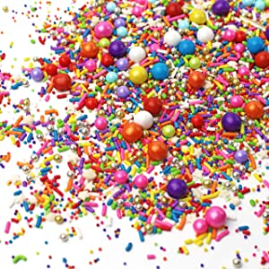Rainbow Road Sprinkle Mix| Red Orange Yellow Green Blue Pink Purple Colorful Candy Sprinkles For Baking Edible Cake Decorations Cupcake Toppers Cookie Decorating Supplies Ice Cream Toppings , 4OZ