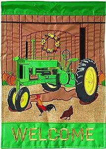 Magnolia Garden Fall Tractor Tractor Green 13 x 18 Small Double Applique Outdoor Harvest House Flag