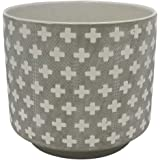 "Amazon Brand – Rivet Rustic Cross-Patterned Stoneware Planter, 8.85""H, White and Gray"