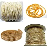 AM Rhinestones Jewellery Making Chains and Stone Lace Set (Gold) - Pack of 4