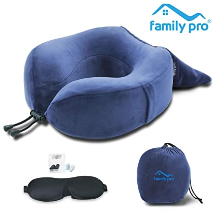 30184fc80 Amazon.com  Family Pro Memory Foam Travel Pillow for Airplanes - Neck  Pillow with Eye Mask and Earplugs – Removable   Washable Plush Velour Cover  - Blue  ...