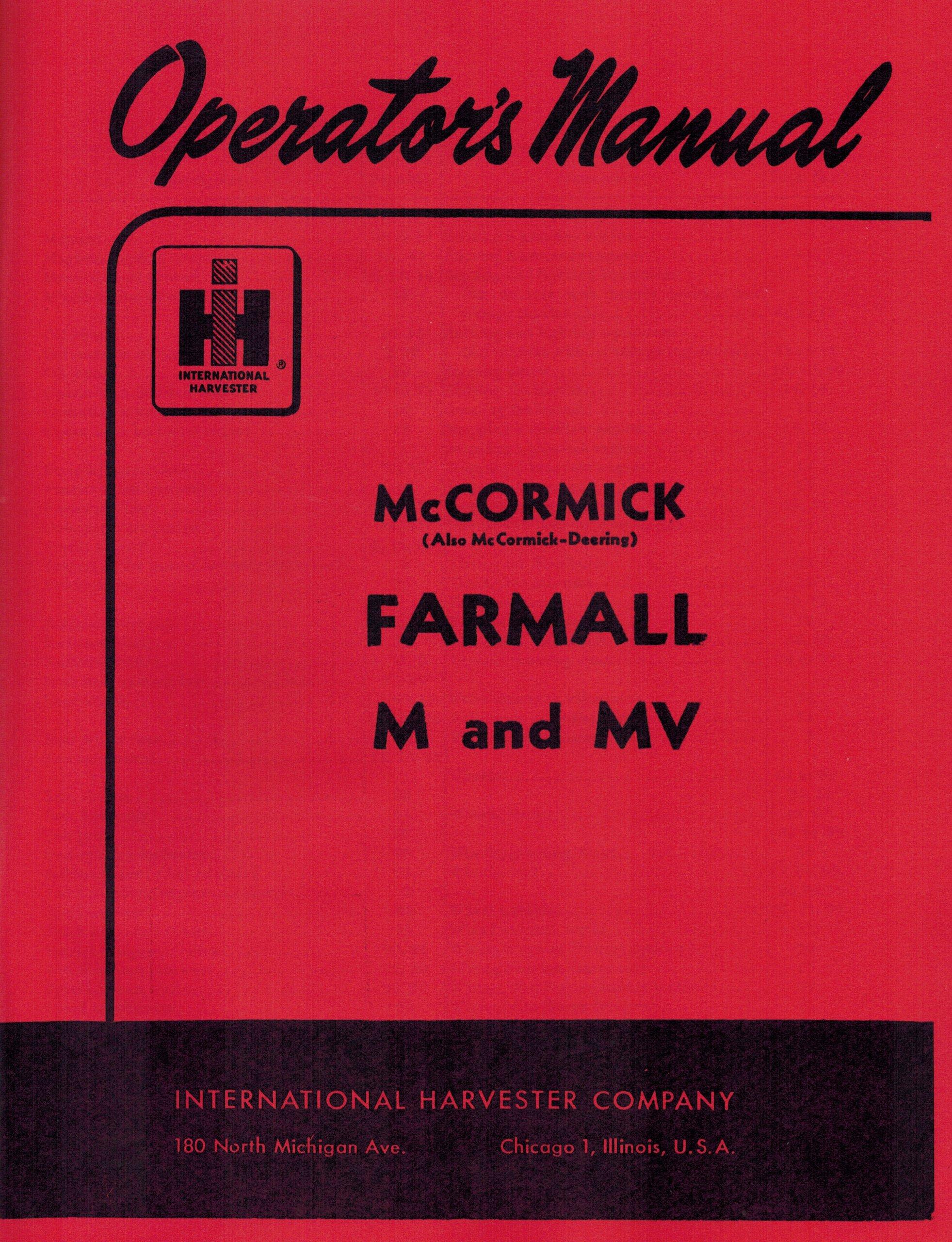 international farmall m and mv operator s manual international rh amazon com farmall super m operator's manual Farmall M Brake Diagram