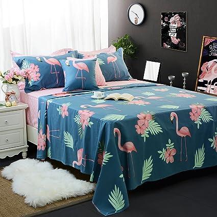 FADFAY Navy Blue Flamingo Bird Print Bed Sheet Set Cotton Pink Sheets  4 Piece Queen