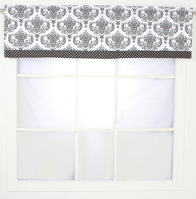 Bacati - Classic Damask White/Black Window Valance