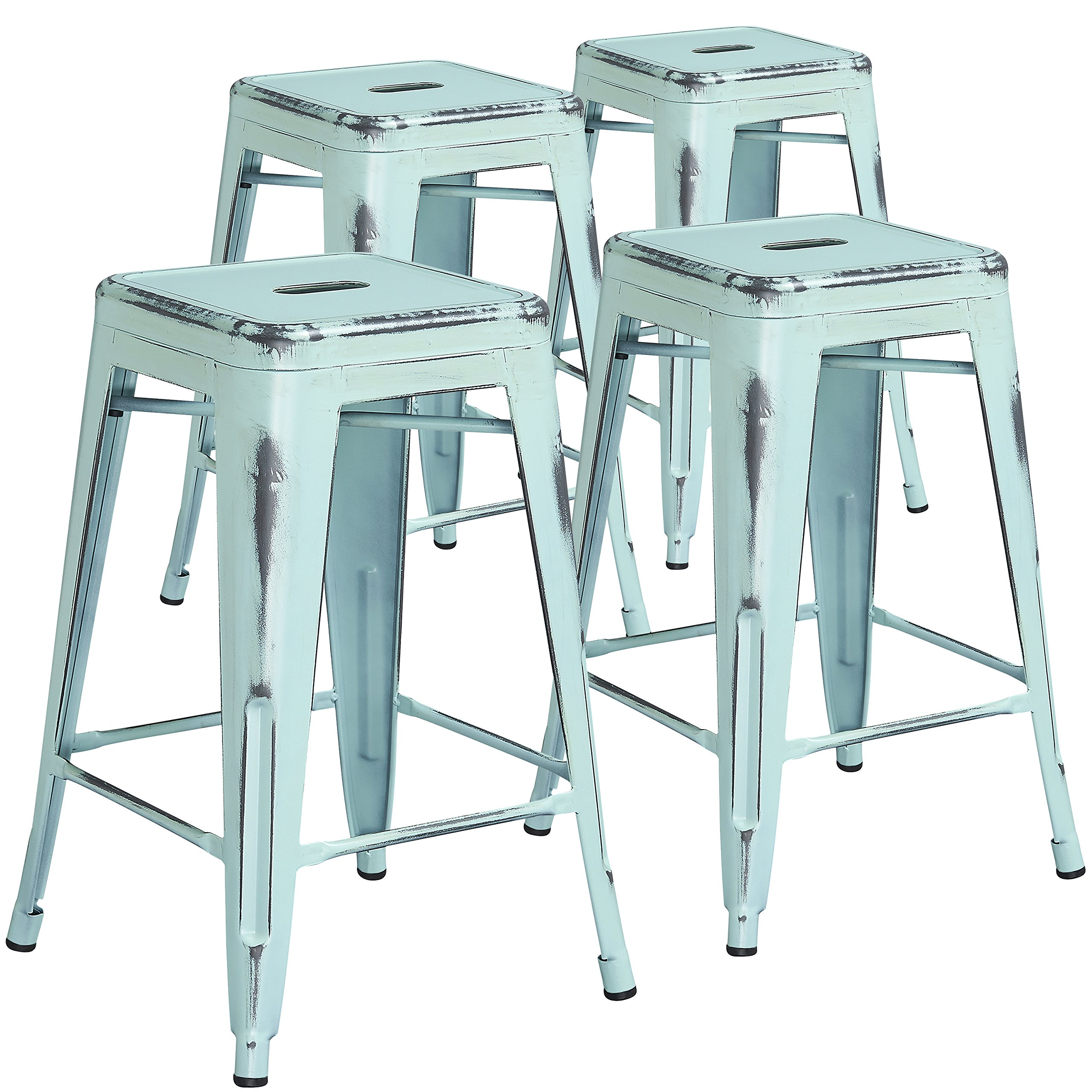 Flash Furniture 4 Pk. 24'' High Backless Distressed Green-Blue Metal Indoor-Outdoor Counter Height Stool