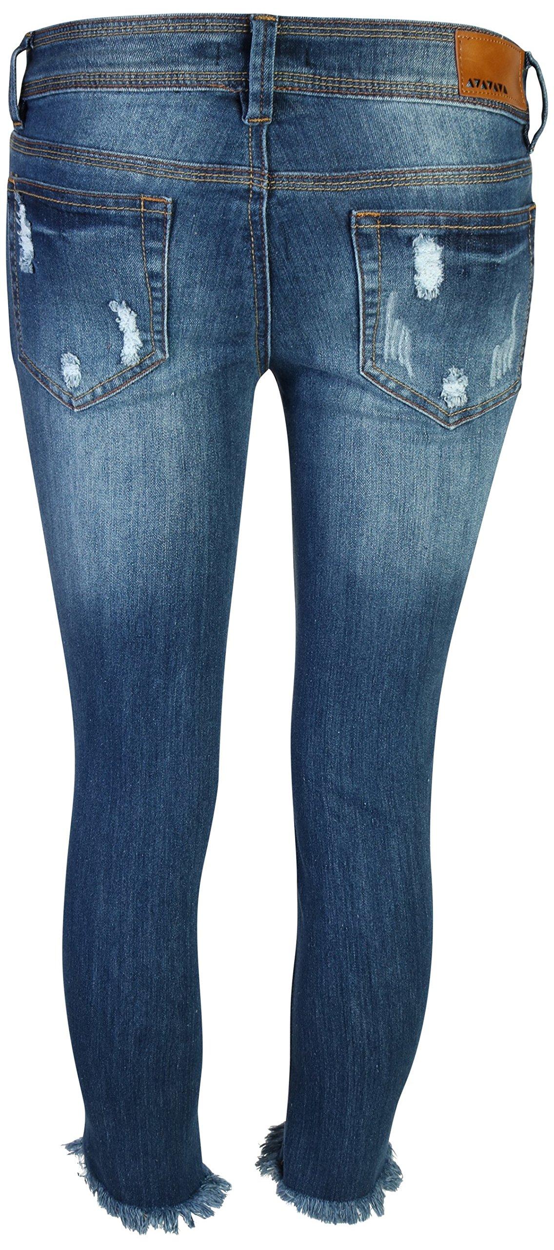 dollhouse Women's Distressed Stretch Frayed Hem Skinny Capri Jeans, Dark, Size 13' by dollhouse (Image #4)