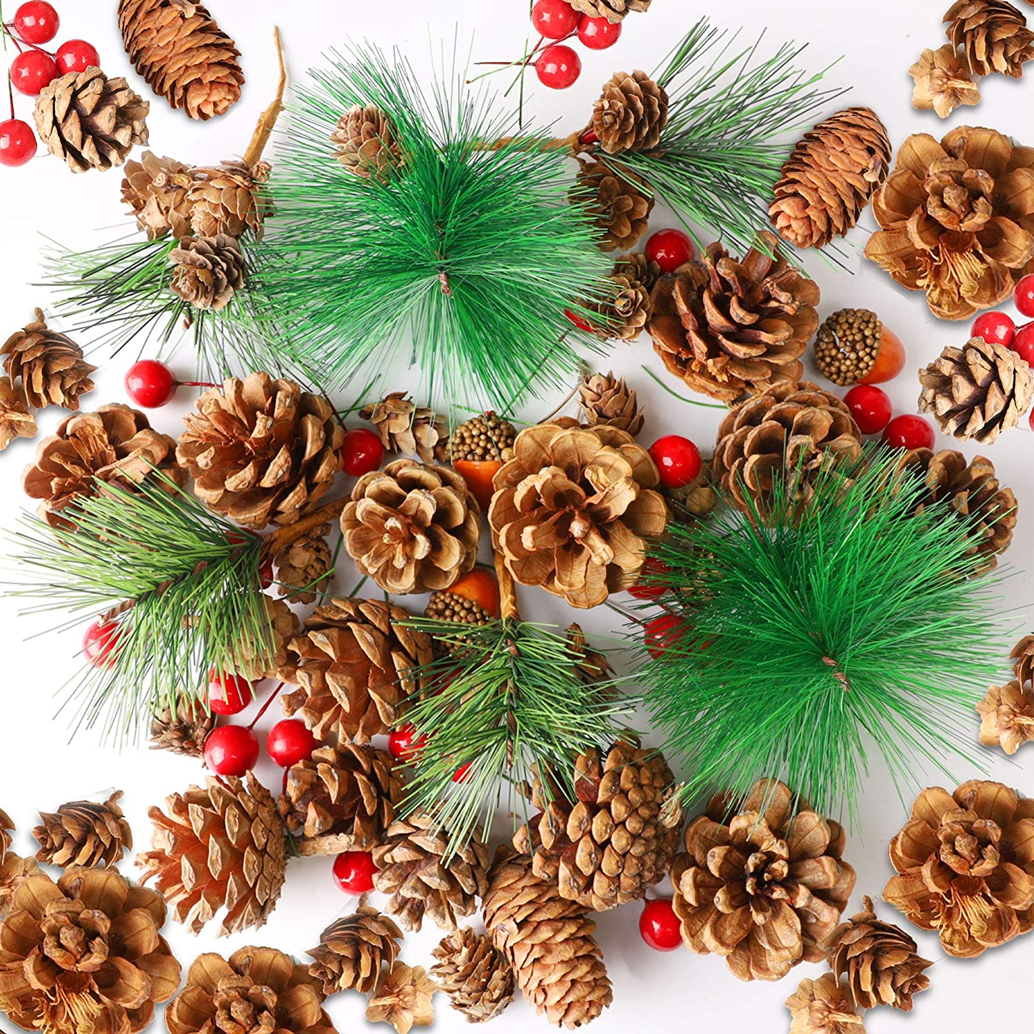 Cllayees 180 PCS Artificial Pine Cones Pine Branch Set, Fake Natural Pinecones Acorns Red Berries Christmas Decor Ornaments for Home Winter Decorations