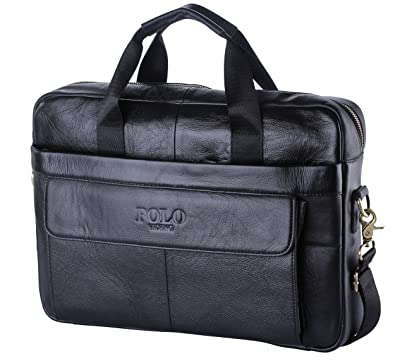 VIDENG POLO Top Genuine Leather Handmade Briefcase Shoulder Messenger  Busiiveness Bag From Italy Design (Black-CP)  Amazon.co.uk  Shoes   Bags d331e7b957