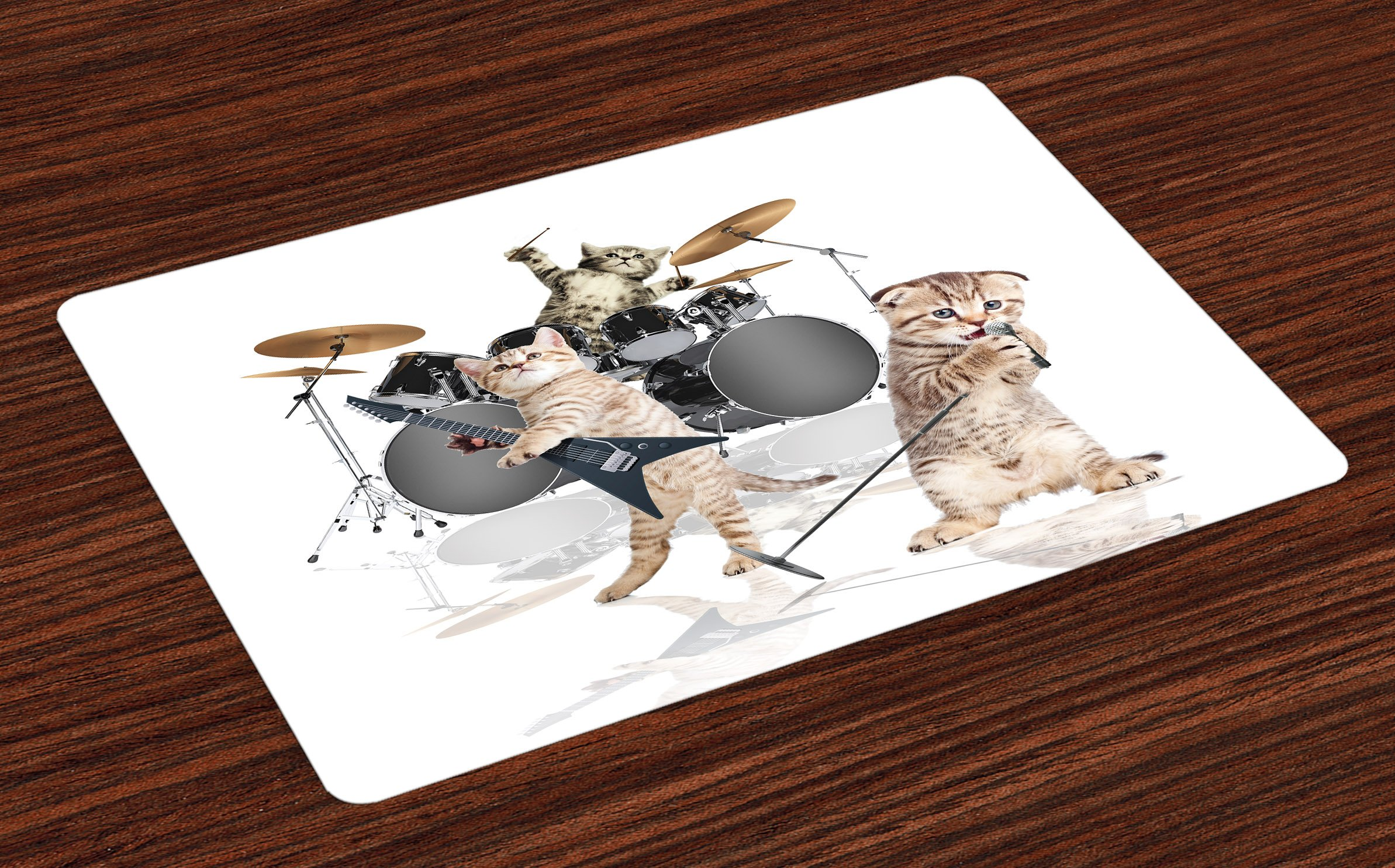 Ambesonne Animal Place Mats Set of 4, Cool Fancy Hard Cute Rocker Band of Kittens with Singer Guitarist Cats Artwork Print, Washable Fabric Placemats for Dining Room Kitchen Table Decor, Multicolor