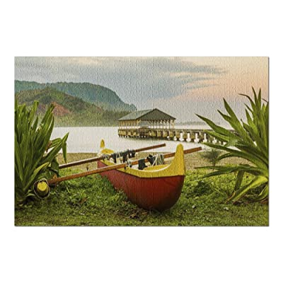 Hawaiian Canoe by Hanalei Pier at Sunset with Tropical Plants 9020407 (Premium 1000 Piece Jigsaw Puzzle for Adults, 20x30, Made in USA!): Toys & Games