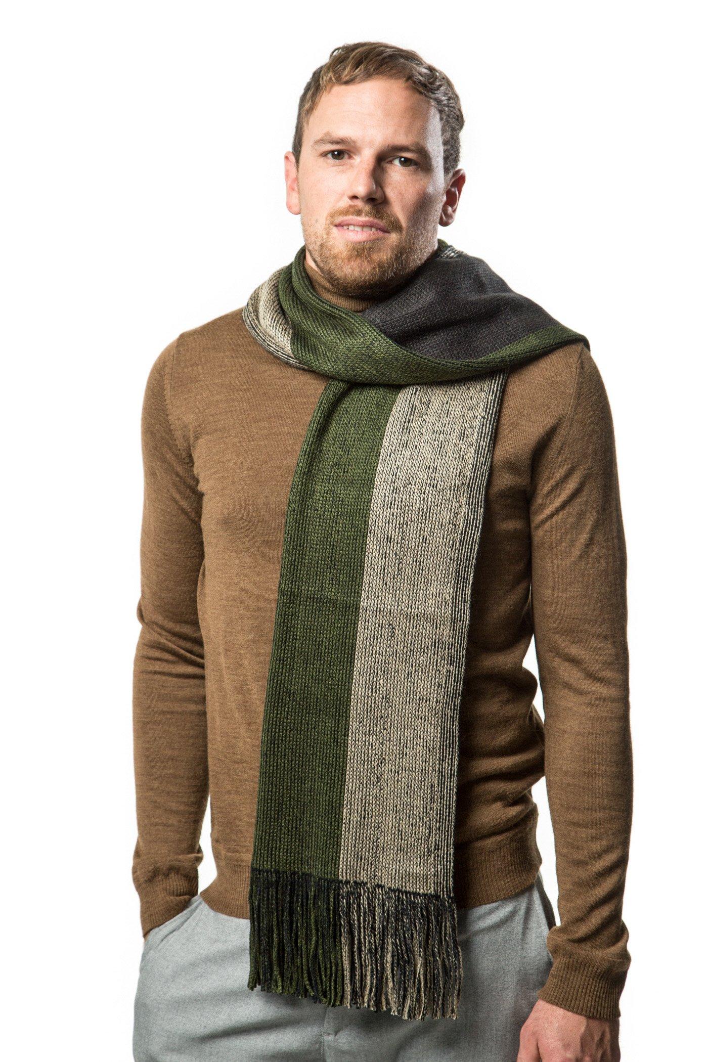 Winter Knit Scarf for men, Fashion Stripe Scarve in an elegant gift box - Multi Green